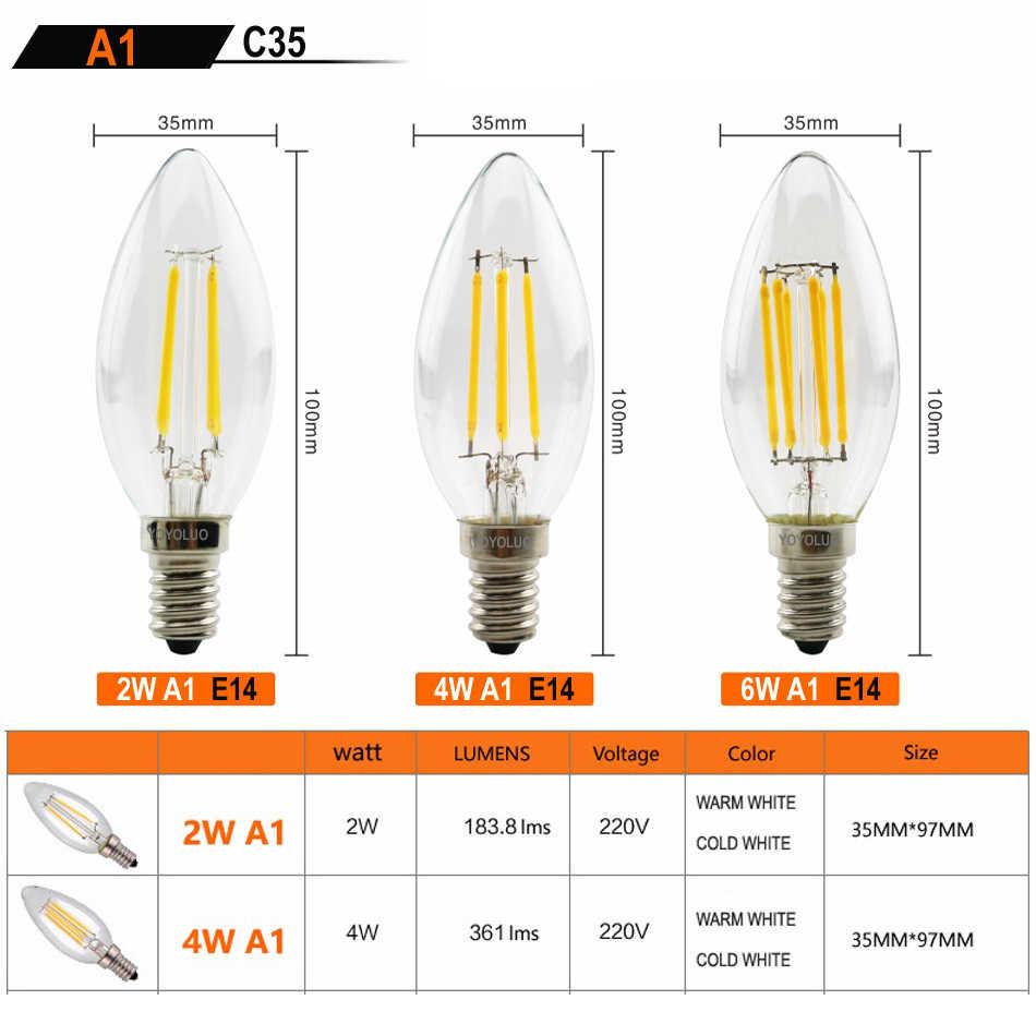 8 PCS CONDUZIU a Lâmpada de Edison do Bulbo E27 E14 220 V 240 V LEVOU Filamento Lâmpada de luz 2 W 4 W Vela De Vidro do Vintage Retro Antigo Lampada Bombillas