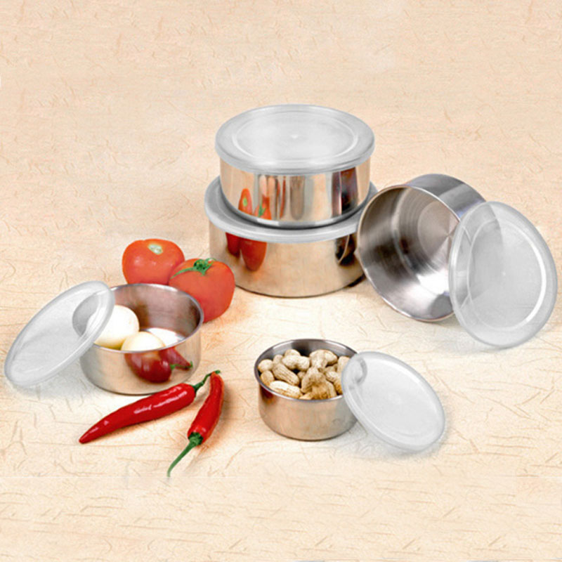 Round Shape Preservation Bowls Tools Stainless Steel Kitchen Dinnerware Food Container Lunch Box silver size5 9