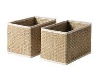 2pcs Pack Seaweed Basket Handmade Storage Box Sundries Storage Baskets High Quality Sea Grass Box Home