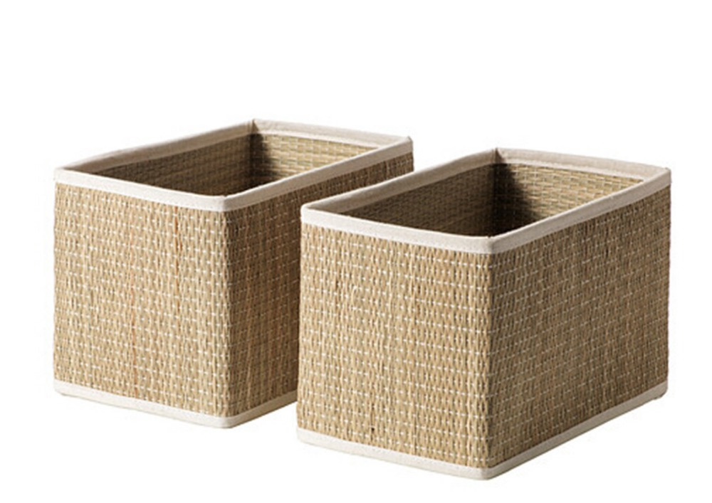 Handmade pack baskets : Pcs pack seaweed basket handmade storage box sundries