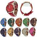 15 Colores 2016 Nuevas Señoras de La Manera Relojes de los Números Romanos de Cuero de Imitación Mujeres Hombres Casual Relogio Horas Reloj de Pulsera de Cuarzo Analógico