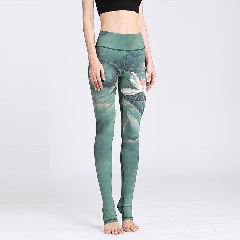 2018 New Lotus Print Sporting Leggings Women Sexy Fitness Legging For Women Sportswear Trousers Femme Elastic Pants