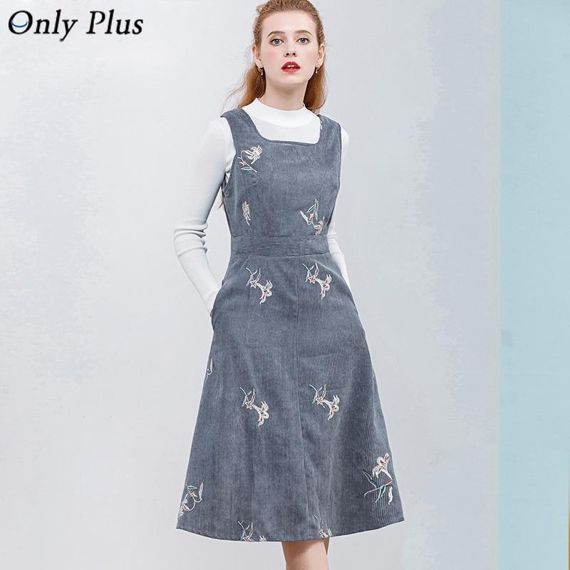 ONLY PLUS Sleeveless Embroidery Corduroy Dress Elegant Women Velvet Dress 2017 New Design A Line Dresses