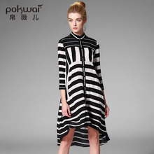 POKWAI Elegant Midi Casual Summer Silk Shirt Dress Women Luxury Brand Clothing Three Quarter Sleeve Striped