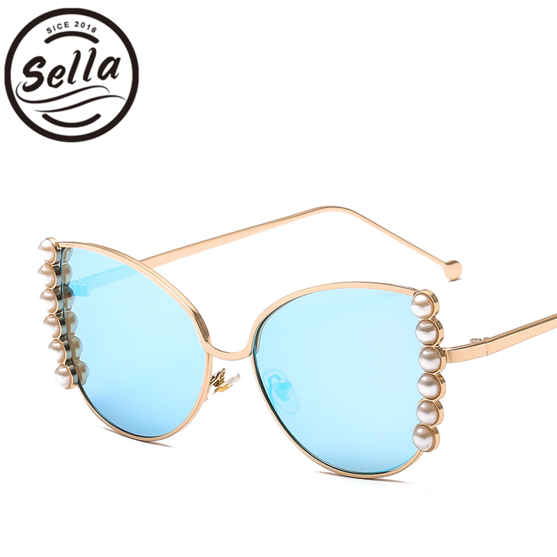 95fe0088aa Sella Sexy Women Oversized Cateye Sunglasses Brand Designer Pearl Decoration  Mirror Gradient Lens Alloy Frame Glasses Eyewear-in Sunglasses from Apparel  ...