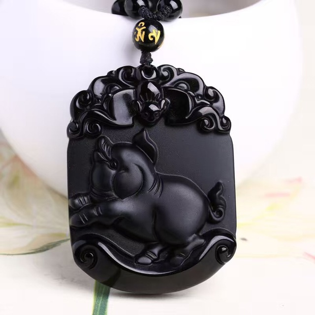 Natural black obsidian pendant carved pig chinese zodiac patron natural black obsidian pendant carved pig chinese zodiac patron saint buddha pendants lucky pendants necklace amulet aloadofball Choice Image