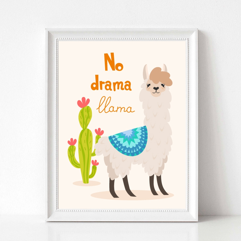 llama with ornament design and cactus prints kids room decor