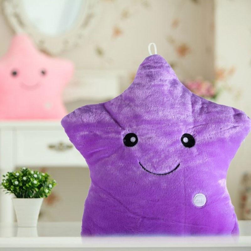 HTB1sulrbQ9E3KVjSZFGq6A19XXaX LREA beautiful cojines Colorful Stars Luminous cushion Led Light plush toy pillow Hot sale