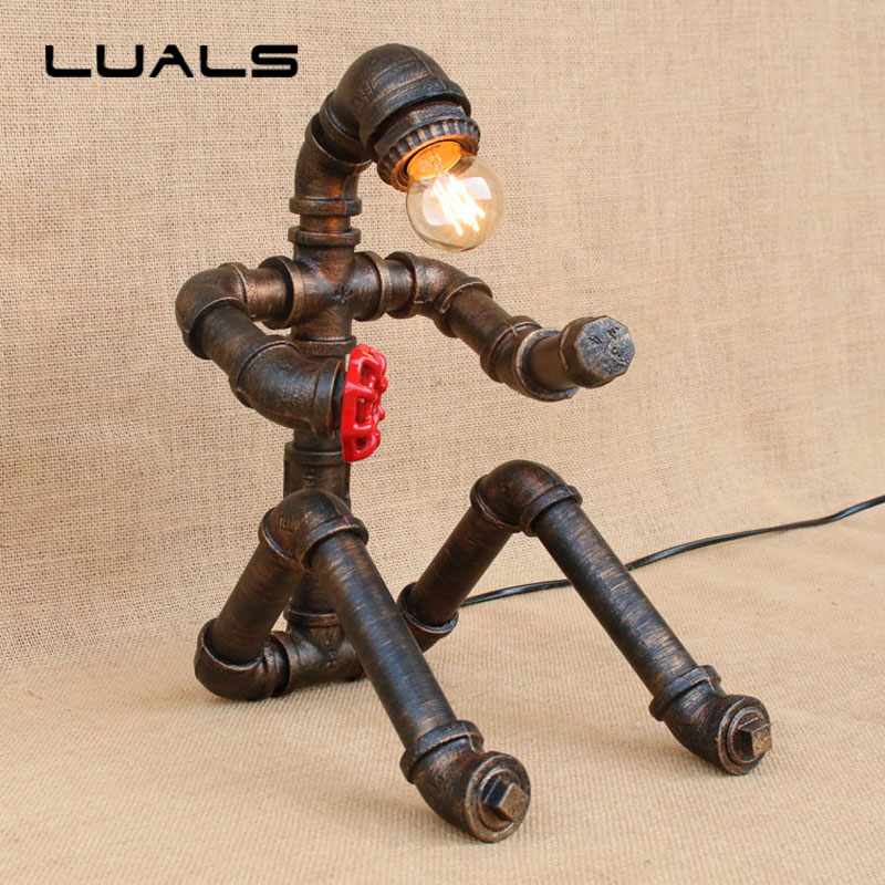 LUALS Loft industrial Water Pipes Retro Table Lamp Robot Model Deco mesa Table Lamp Creative Cafe Bar Art Ambience Desk Lamp ep85tde