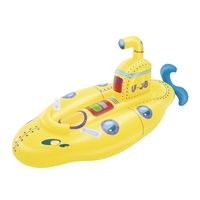 Inflatable Kids Unsinkable Yellow Submarine Rider Swimming Pool Float Water Fun Toys Ride on Mattress Beach Game