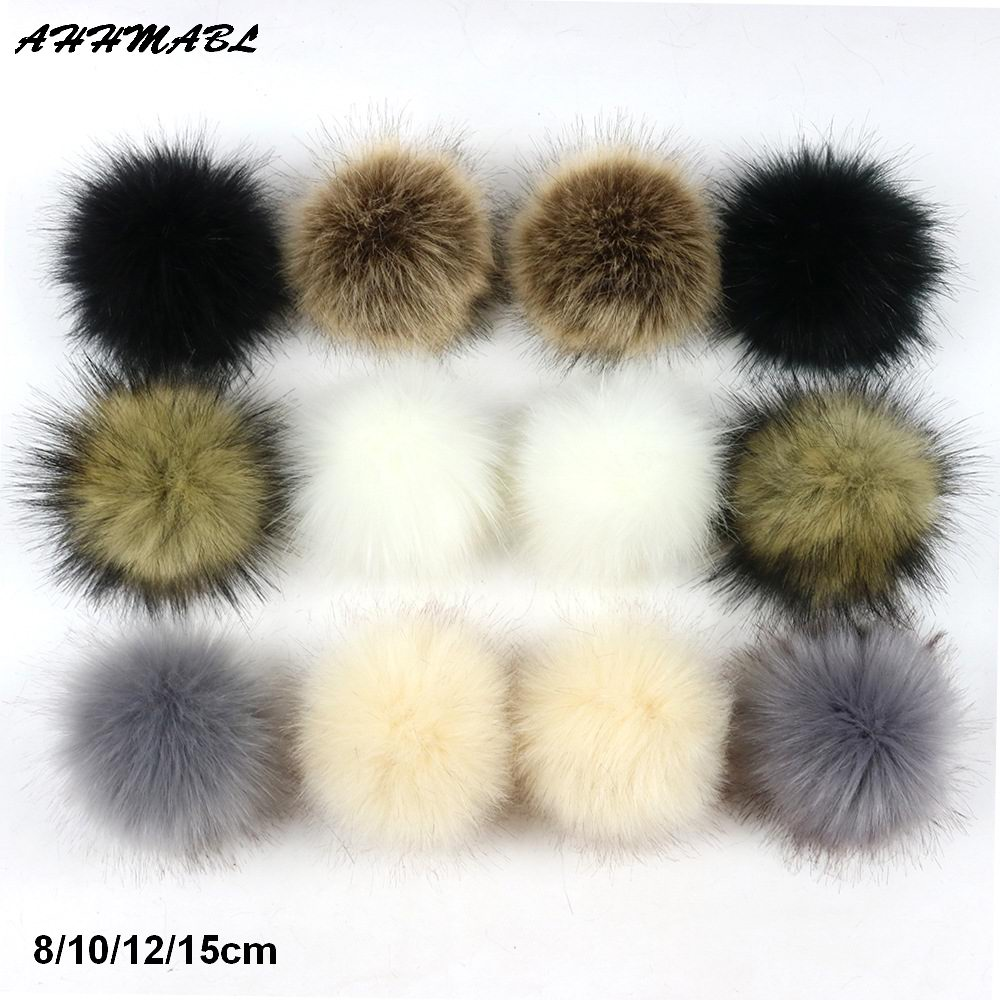 2pcs/lot 8/10/12/15cm DIY Faux Raccoon Fur Pompom Fur Pom Poms For Women Kids Beanie Hats Caps Fox Ball For Shoes Caps Bags F321