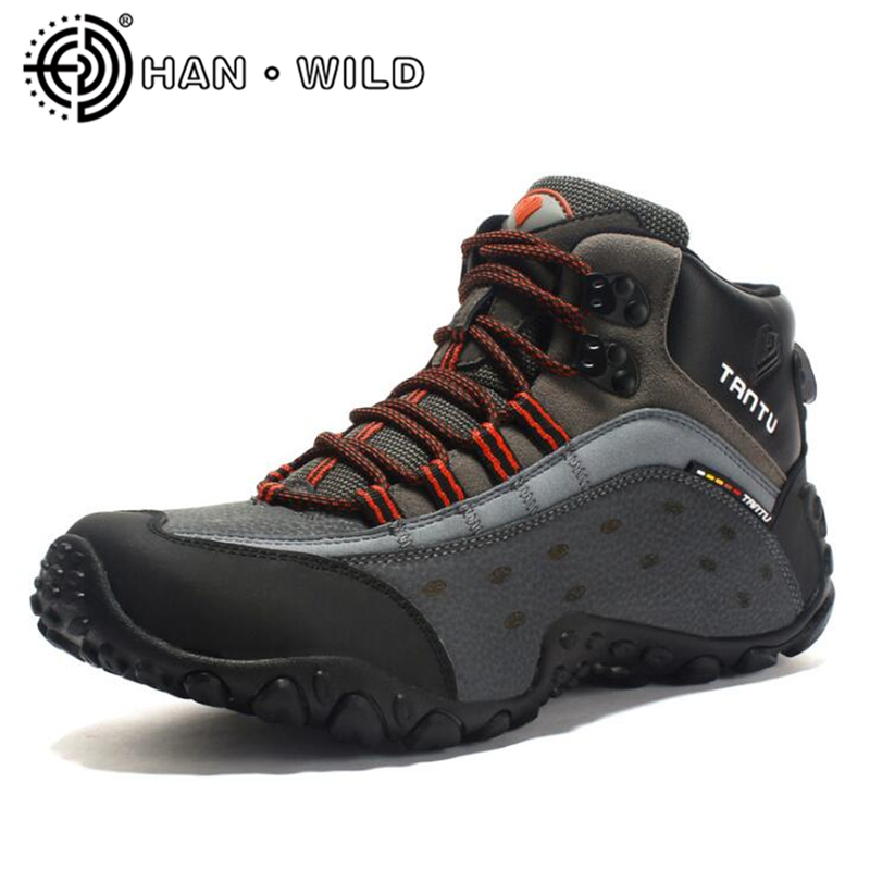 Men Hiking Shoes 100% Genuine Leather Shoes Outdoor Men Ankle Boots Autumn Winter Mountain Climbing Shoes Trekking Shoes kerzer outdoor shoes men autumn winter hiking boots slip on trekking shoes leather mountain climbing sneakers