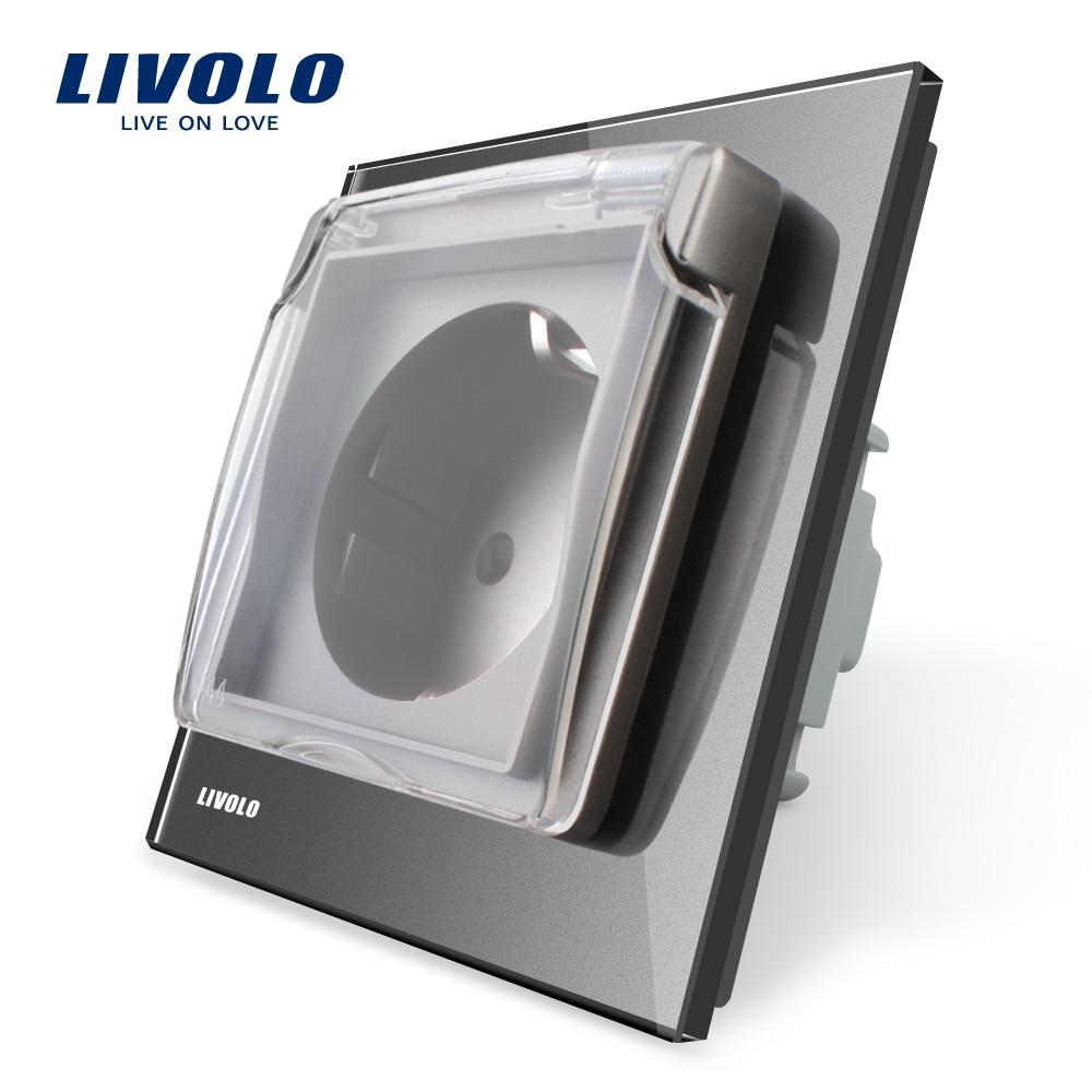 Livolo EU Standard Outdoor Wall Socket, AC 110~250V 16A Wall Power Socket With Waterproof Cover