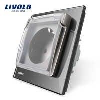 Livolo estándar de la UE enchufe blanco de vidrio de Panel AC 110 ~ 250 V 16A alimentación de pared con cubierta impermeable C7C1EUWF-11