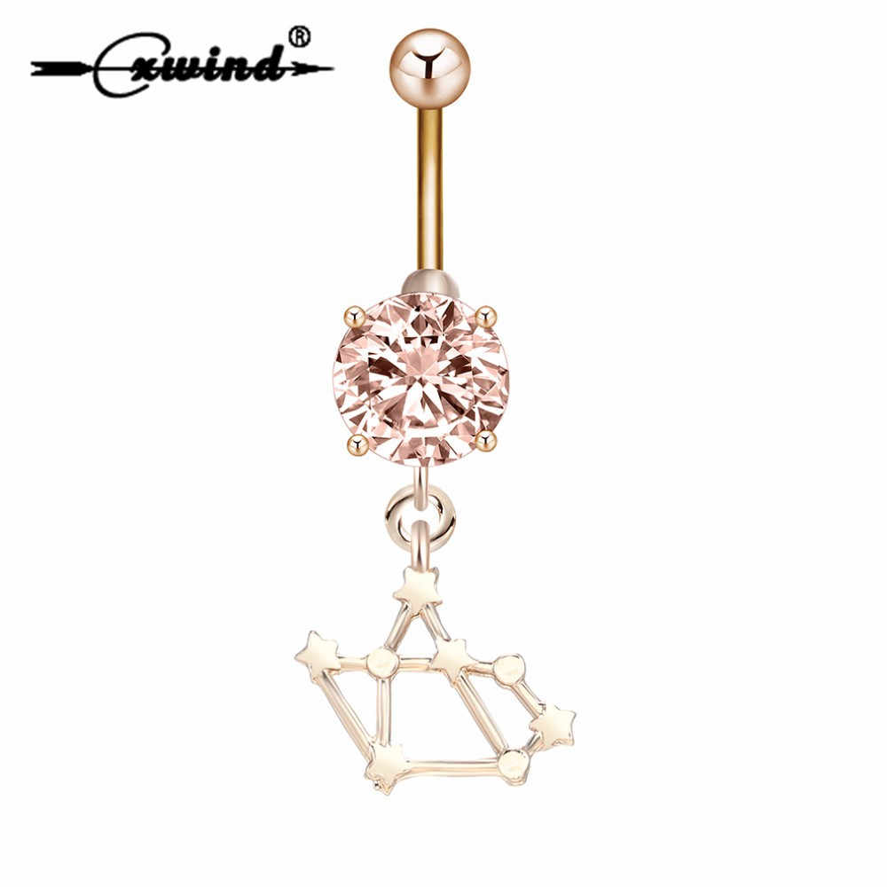 Cxwind Gold Unique Sagittarius Zodiac Star Sign Charm Belly Button Piercings for Women Men Sexy Body Navel Zircon Rings