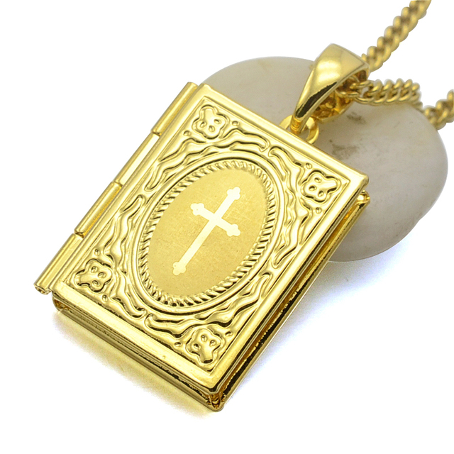 24kgp gold tone catholic bible scripture book locket charm pendant 24kgp gold tone catholic bible scripture book locket charm pendant necklace w curb chain in aloadofball Images