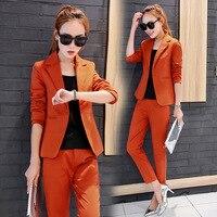 Spring Women Slim Blazer Pant Suits Coat 2017 Fashion Casual Jacket Long Sleeve Ladies Blazers Work women Suit+pants 2pces sets