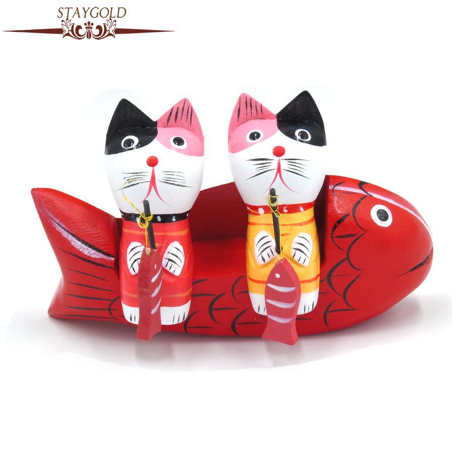 Zakka Pulmad Dekoratsioon Kalapüük Kass Figurine Lovers Käsitöö - Kodu kaunistus