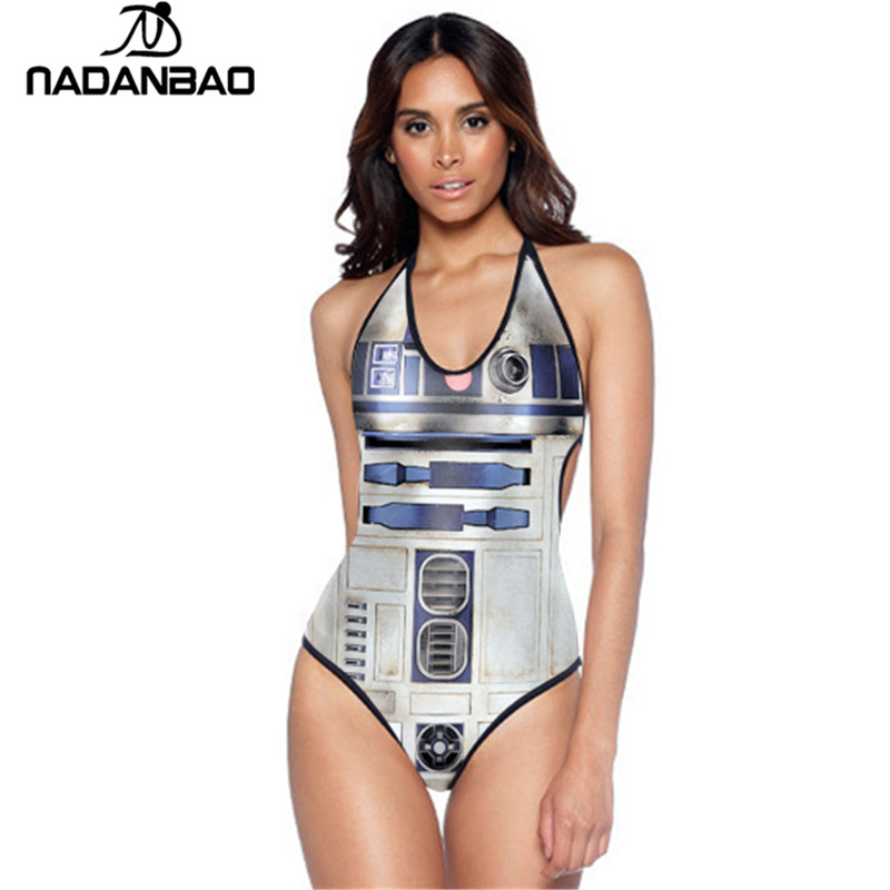 2017 Novo Design Star War R2-D2 One Piece Swimsuit Mulheres Monokini Halter Backless Swimwear Y01035