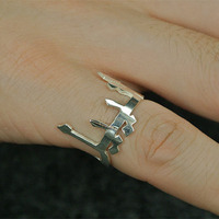 Wholesale Silver Arabic Ring Custom Name Handmde Letter Jewelry Personalzied BFF Gift Fashion