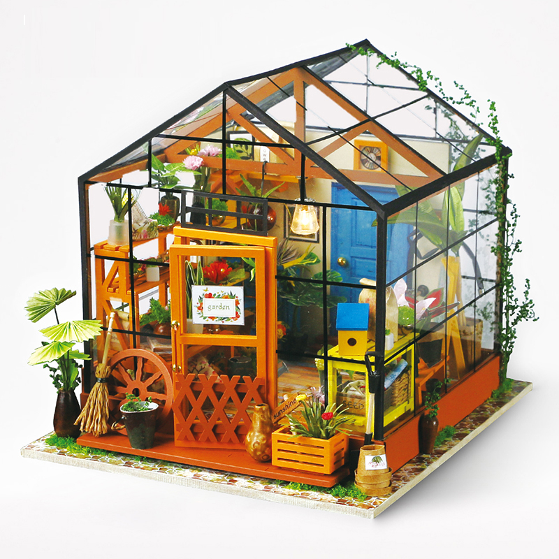 1:12 LED 3D Wooden Puzzle Model Miniatures Kathys Flower Room Doll House Furniture DIY Collection Christmas Toys For Children
