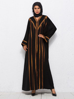 Muslim Dress Embroidery Women Arabic Abaya Autumn Long Cardigan Dubai Kaftan Black Maxi Robe Female A1001