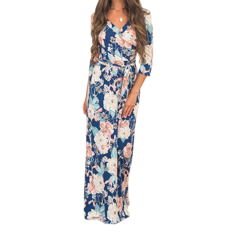 Vintage Maxi Dresses Autumn Floral Printed Long Dress Elegant 2018 Summer Casual V Neck Sexy Women Party Robe Femme GV842