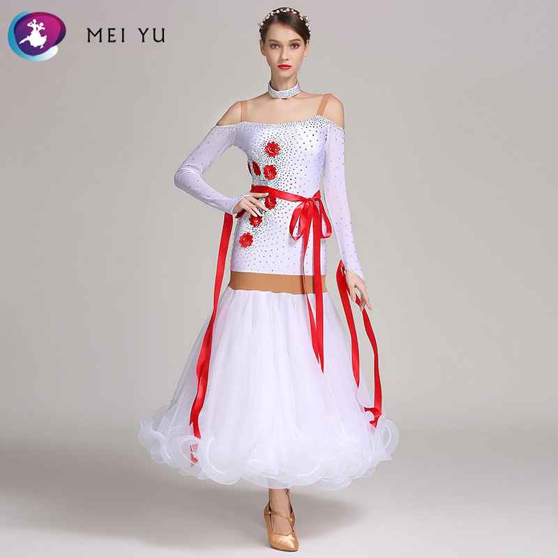 MEI YU S7025 Modern Dance Costume Women Ladies Dancewear Waltzing Tango Dancing Dress Ballroom Costume Evening Party Dress