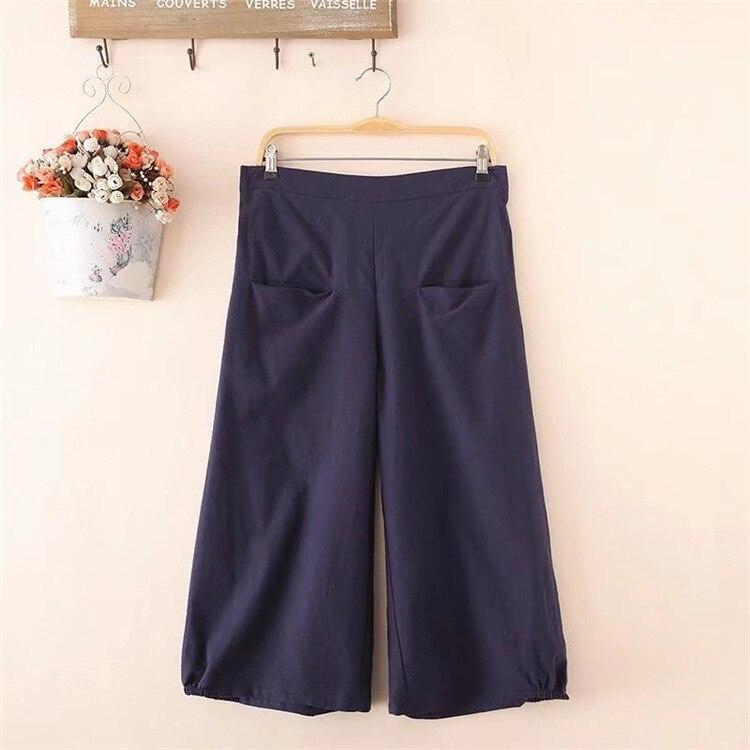 Plus Size Fashion Women's Pants Elegant Vintage Linen Solid Elastic Waist Loose Black Wide Leg Pants Pockets Female Pants
