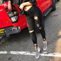 Boyfriend Jeans Women Pencil Pants Trousers Ladies Casual Stretch Skinny Jeans Female Mid Waist Elastic Holes