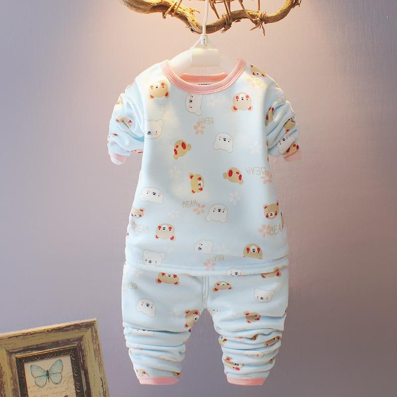 Baby Girls Pajama Sets Winter Cartoon Baby girl Warm Velvet thickening Tops+Pants Suit 2pcs Kids Children Clothes Set стоимость
