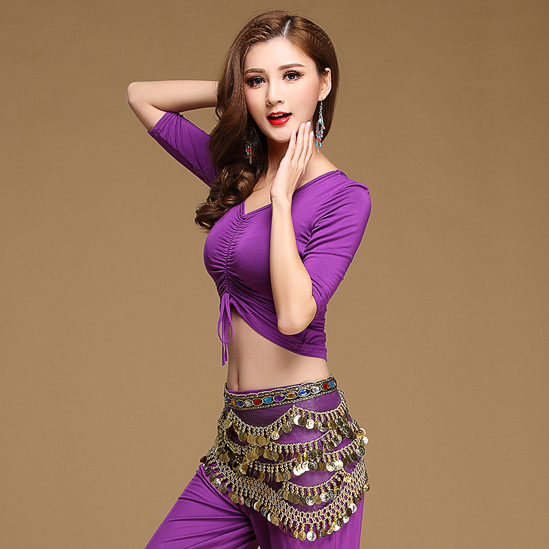 2018 Style Women 3 Piece Belly Dance Costume Top Pant