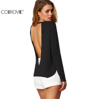 COLROVE Sexy Woman Blouses Summer Style Backless Casual Shirts Long Sleeve Black Split Side Cut Out