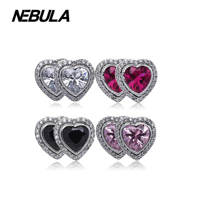 925 Sterling Silver Heart silver stud earrings with cubic zirconia Sparkling Love Compatible with Brand Earrings Jewelry