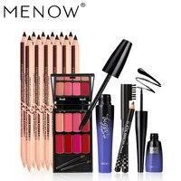 MENOW Brand Make up set Mascara & Eyeliner & Eyebrow Pencil &8 colors Lipstick Palette Concealer+Eyebrow Two-head Pencils 5420