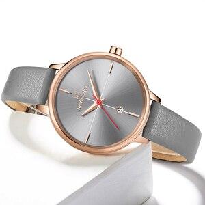 Image 3 - NAVIFORCE zegarki damskie Top Luxury Brand zegarek kwarcowy Lady Fashion zegarek ze skórzanym paskiem wodoodporny data dziewczyna zegarek prezent dla żony