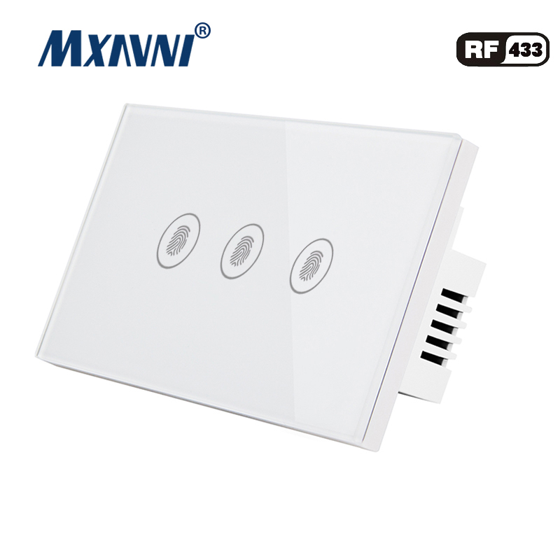 MXAVNI US Standard Remote Control Switch 3 Gang 1 Way RF433 Smart Wall Switch Wireless remote control touch light switc in Switches from Lights Lighting