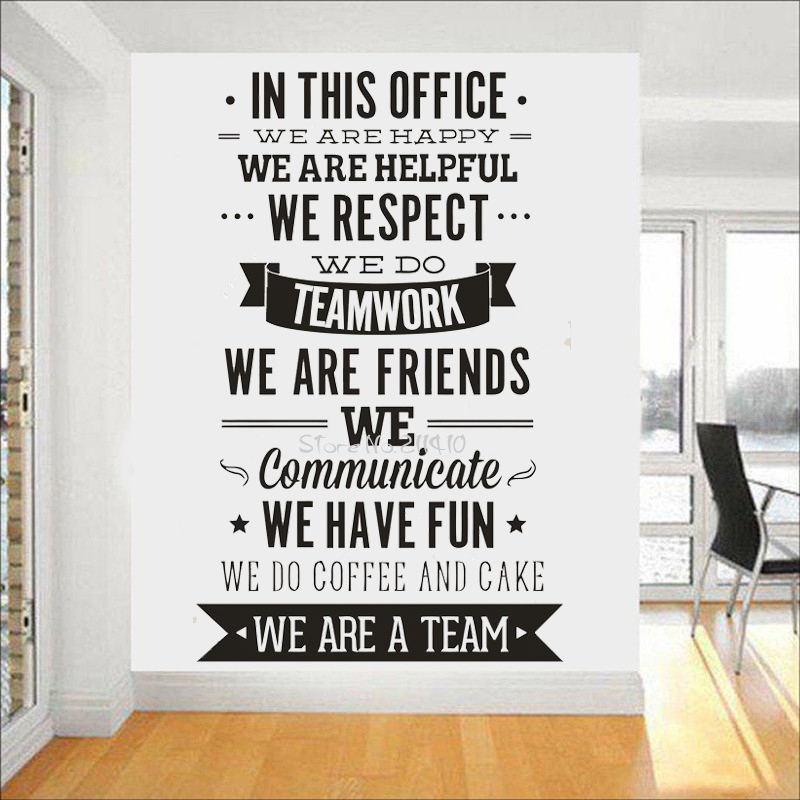 Office Rules Wall Sticker  We Are A Team Increase Team Cohesion Inspiring Quotes Vinyl Wall Decal Mural Office Decor A701