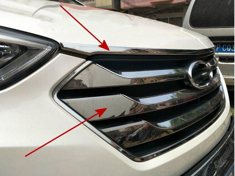 Stainless Steel Accessories Fit For 2013 2014 2015 Hyundai Santa Fe Santafe IX45 Engine Trim Chrome Hood Guard