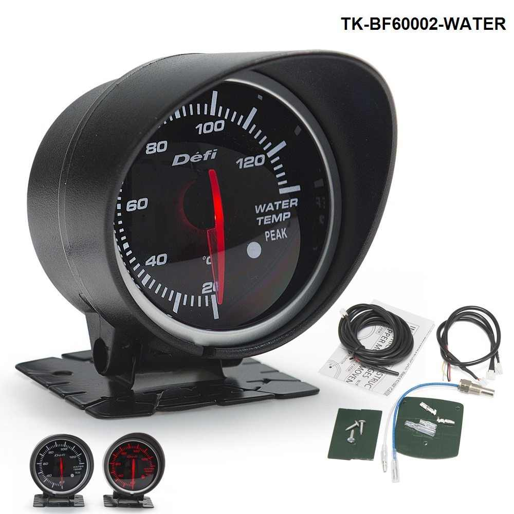 Auto Car Motor HQ 60mm DF BF Water Temp Gauge Meter Red and White Light For Ford Mustang 86-93 TK-BF60002-WATER
