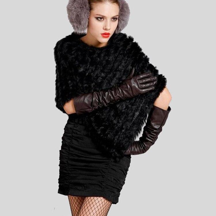 Otoño Invierno Señoras Genuinas Poncho 100% real de piel de conejo - Accesorios para la ropa - foto 4