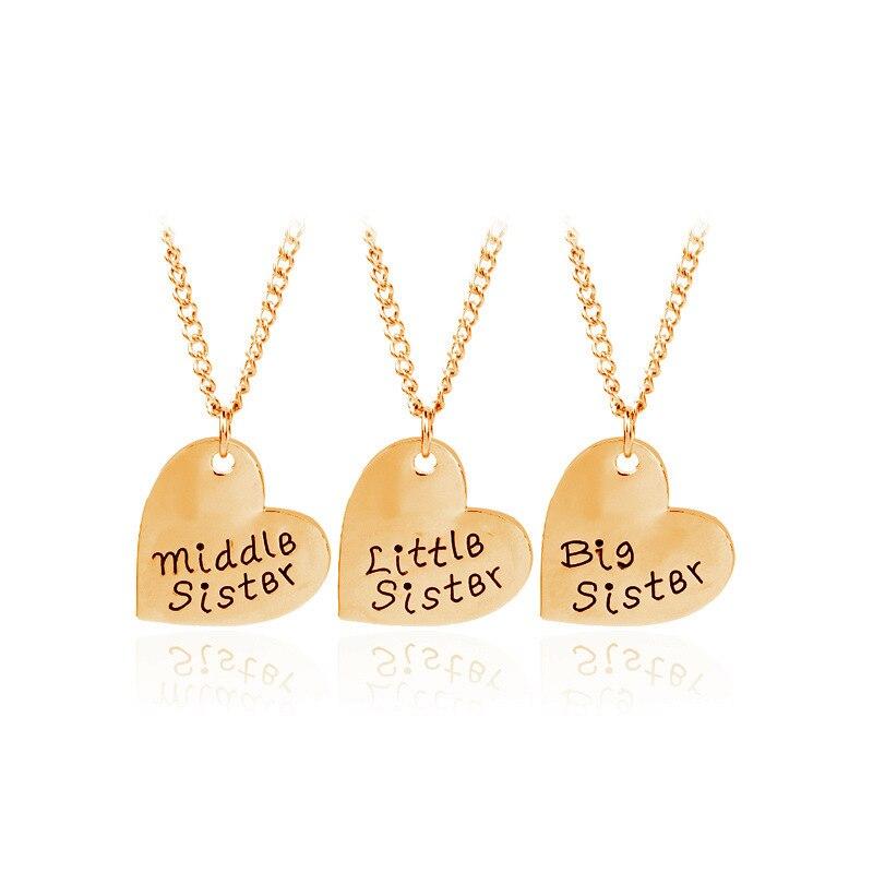 Ornements trois papier costume grand/moyen/lit Sis soeurs Confidante amour ensemble chaîne LV152 shouzh bijoux colar collier choker