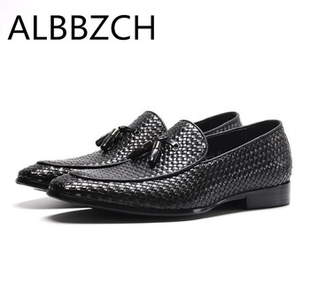 New mens tassel weave shoes men oxford designer quality cow leather wedding dress shoes business office work leisure party shoes
