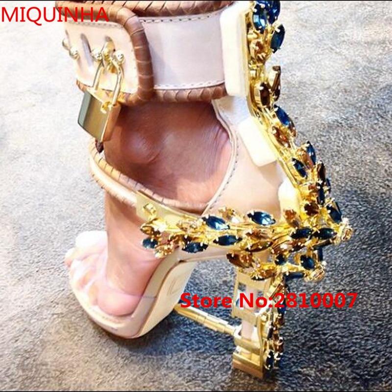Brand Summer Style Luxury Strange Heel Crystal Designer Shoes Woman PVC High Heel Sandals Padlock Ankle Strap Rhinestone Sandals