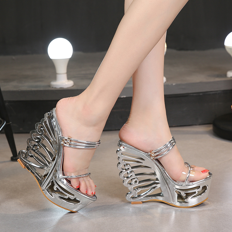 15cm High Heel Summer Sandals For Women Wearing Fashion Crystal Transparent Pvc Gold Shoes Platform15cm High Heel Summer Sandals For Women Wearing Fashion Crystal Transparent Pvc Gold Shoes Platform