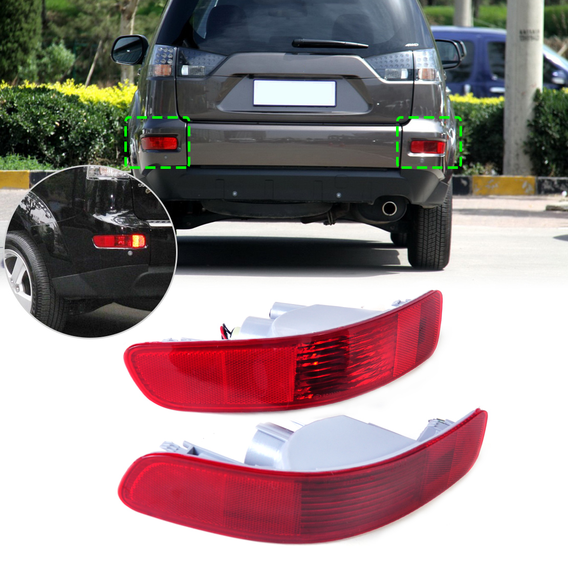 beler 2x Rear Right Left Tail Fog Light Lamp Reflector 8352A005 8337A015 for Mitsubishi Outlander 2007 2008 2009 2010 2011 2012 oem 8330a396 rear tail light outer brake stop lamp right rh left lh for mitsubishi outlander ex 07 13 car accessories