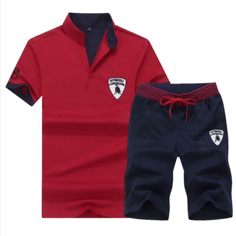 Tracksuit Men Summer 2019 Sweat Suits 2PC Top+Pants Breathable Short Set Men's Causal Sportswear Tops Short Chandal Hombre