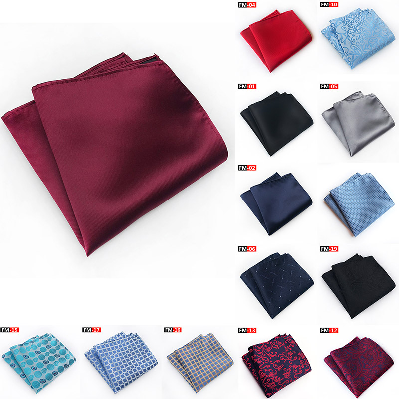 25cm Men Solid Color Pocket Square Hanky For Men Grid Floral Mens Handkerchiefs Casual Suit Handkerchief Towels Wedding Party