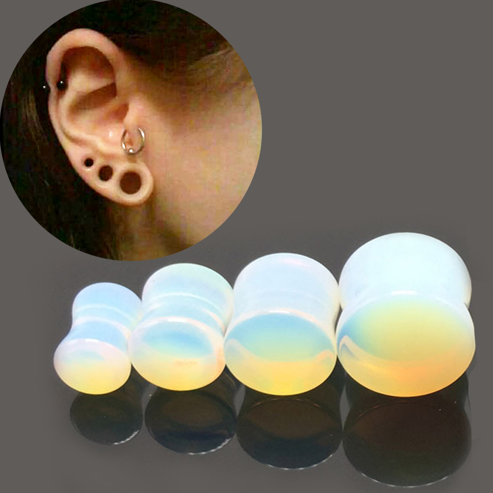 Brand New 1pair Glass Ear Opal Stone Taper Gauge Ear Plug Expander  Stretcher Flesh Tunnel Piercing