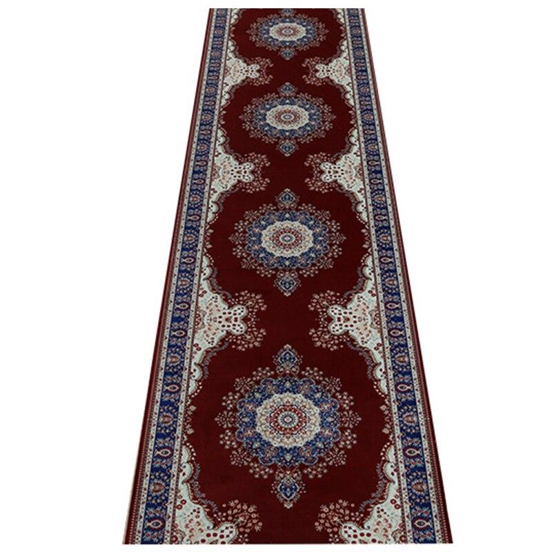 Customize Red Persian Hallway Carpet Pastoral Rugs Corridor Floor Mat wedding Aisle Stairs Anti-slip Kitchen Door Mat Blanket
